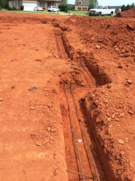 Footers dug with rebar
