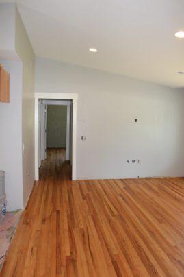 Vaulted ceiling from 8'. Refinishing Oak flooring